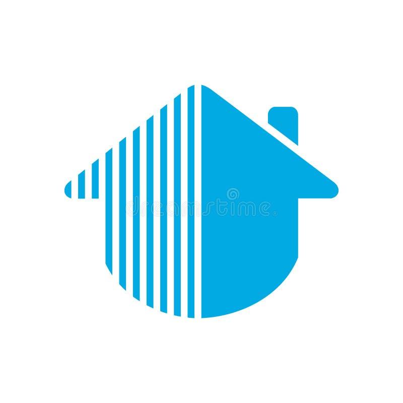 Creative home logo, abstract modern house logo template, real estate blue symbol - Vector stock illustration