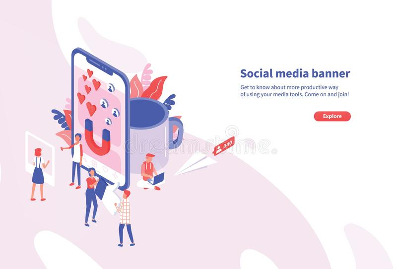 Creative horizontal web banner template with tiny people and giant smartphone. Social media and network tools for vector illustration