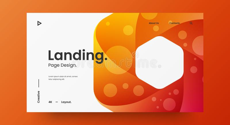 Creative horizontal website screen part for responsive web design project development. Abstract geometric banner layout mock up. Corporate landing page block vector illustration