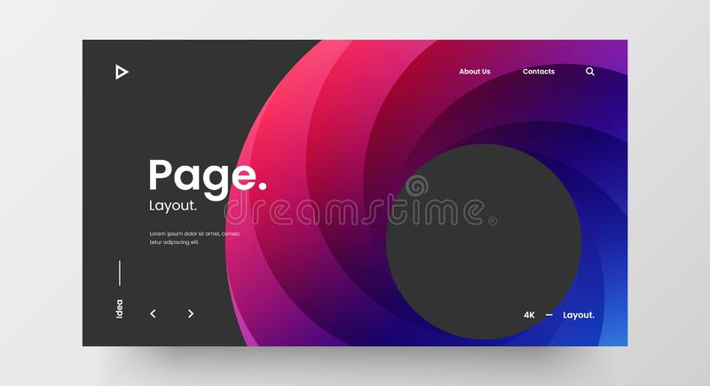 Creative horizontal website screen part for responsive web design project development. Abstract geometric banner layout mock up. Corporate landing page block royalty free illustration