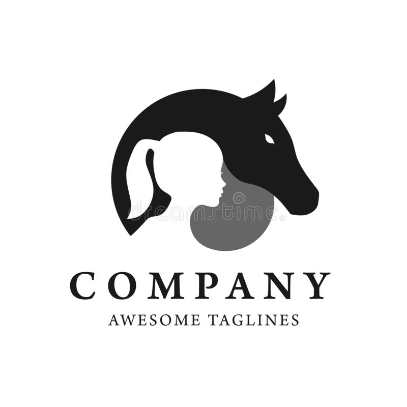 Creative horse and child silhouette logo  royalty free illustration