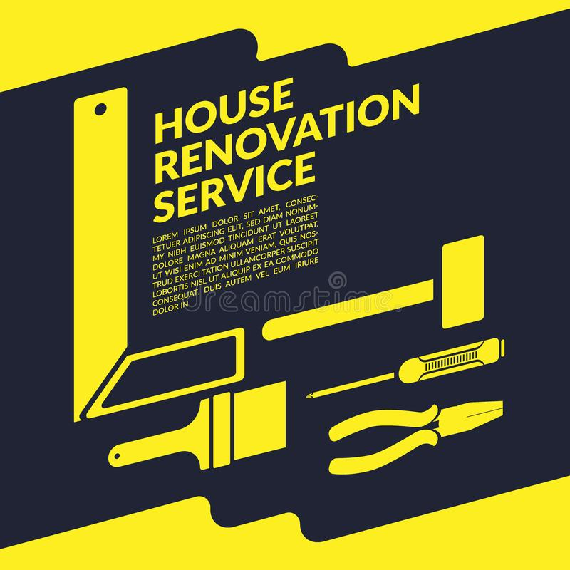 Creative house renovation service yellow logo design template. Isolated on black background with space for your company text royalty free illustration