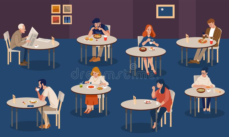 Creative human collection. Tiny people sitting at tables in large hall and eating. Colorful vector illustration in flat stock photos