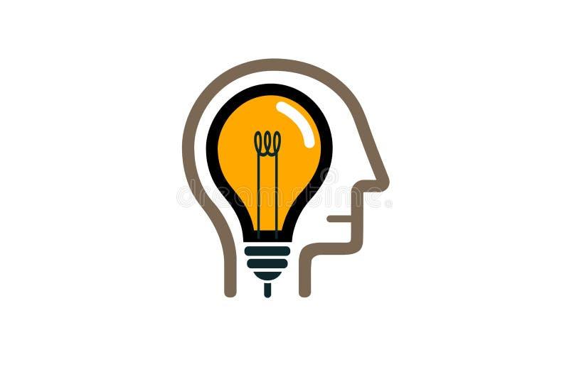 Creative Human Head Lamp Idea logo Symbol stock illustration