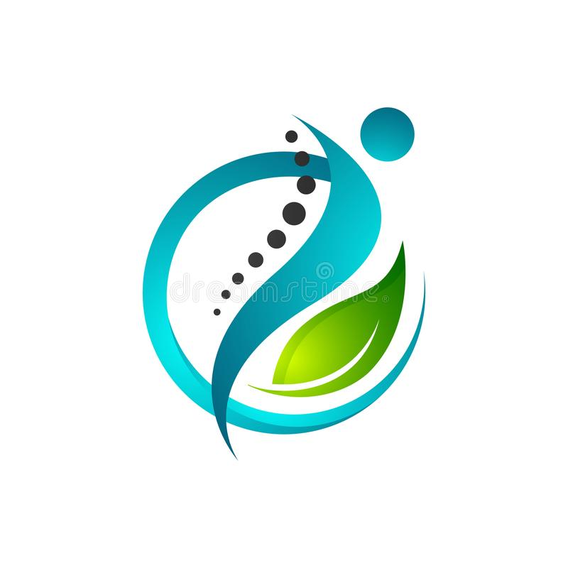 Creative human health care physiotherapy chiropractic concept logo design. Spine, massage, pain, icon, vector, chiropractor, rehabilitation, illustration, back stock illustration