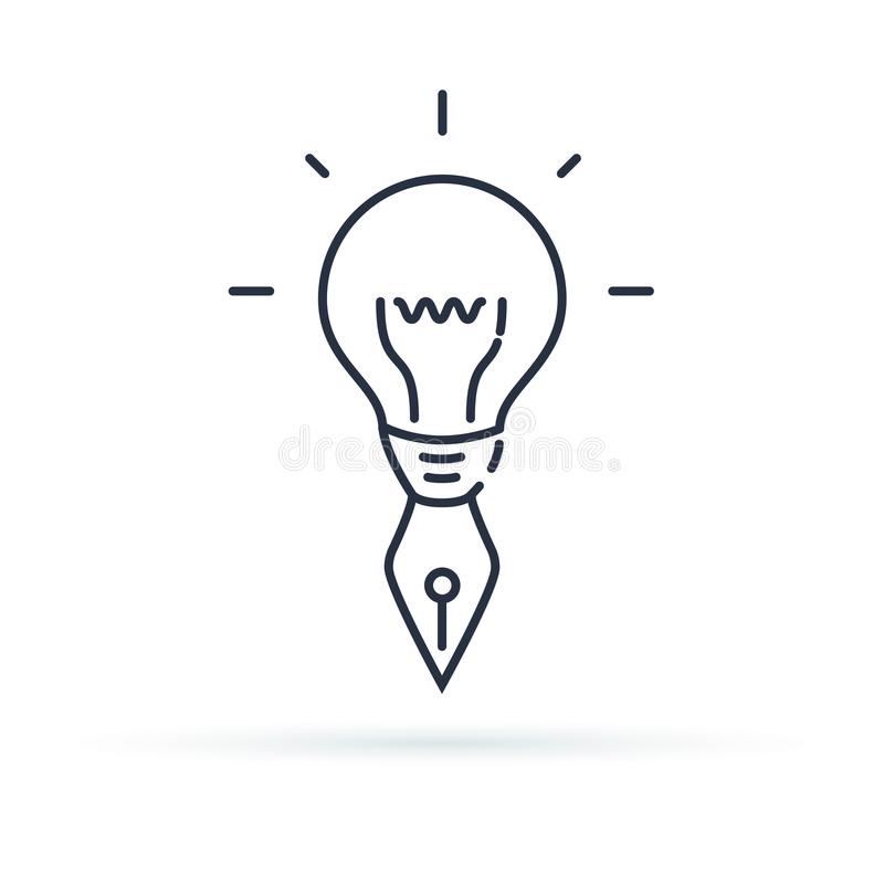 Creative Icon. Creativity, imagination or problem solving with mind power thin line icon concept, illustration. Design logo or symbol for web royalty free illustration