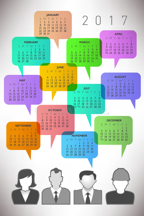 2017 Creative Icon People Calendar stock illustration
