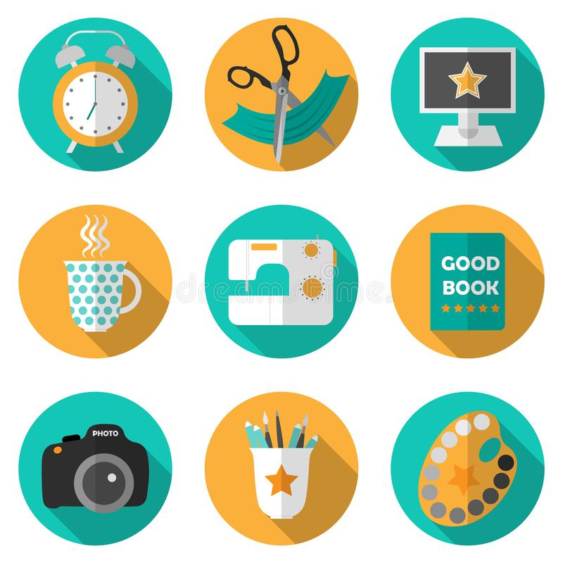 Creative icon set with popular activities vector illustration