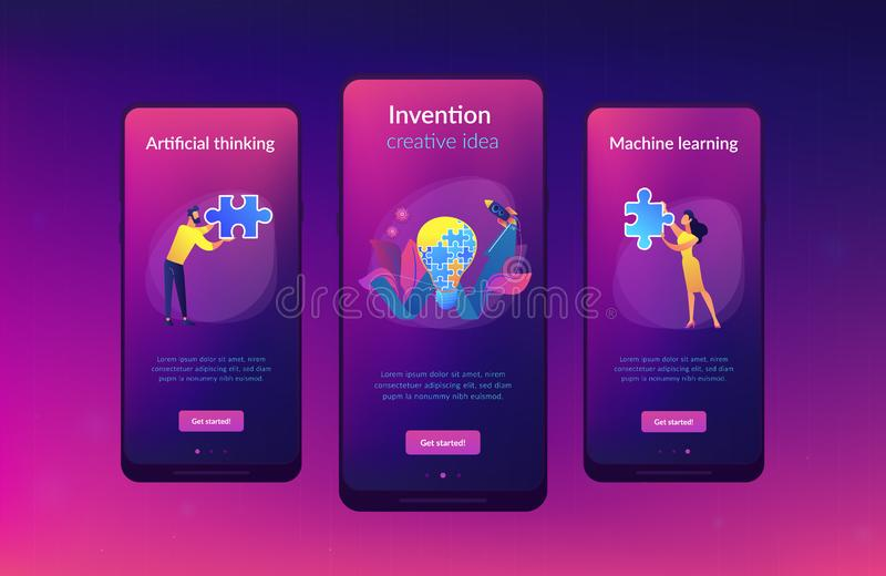 Creative idea app interface template. Business team doing lightbulb from jigsaw puzzle and rising arrow. Creative idea and insight, notion, invention concept on royalty free illustration