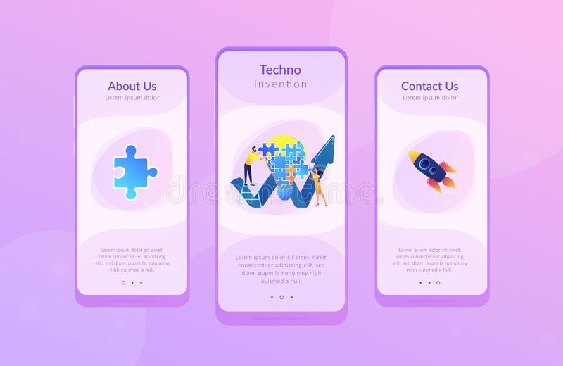 Creative idea app interface template. Business team doing lightbulb from jigsaw puzzle and rising arrow. Creative idea and insight, notion, invention concept on stock illustration