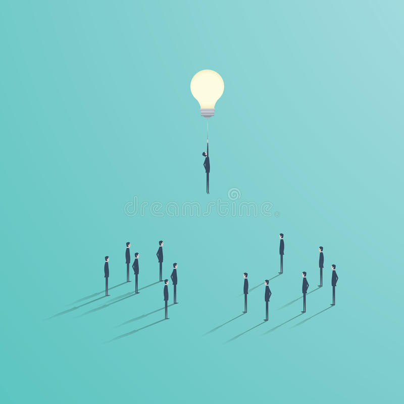 Creative idea best solution business vector concept. Businessman flying on a light bulb as a symbol of creativity. stock illustration