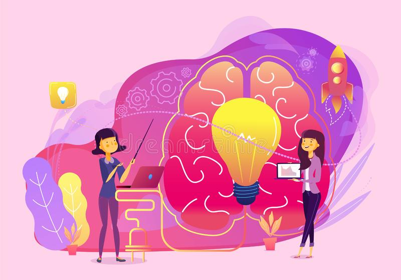 Creative idea business teamwork vector with brain and lamp illustration stock illustration
