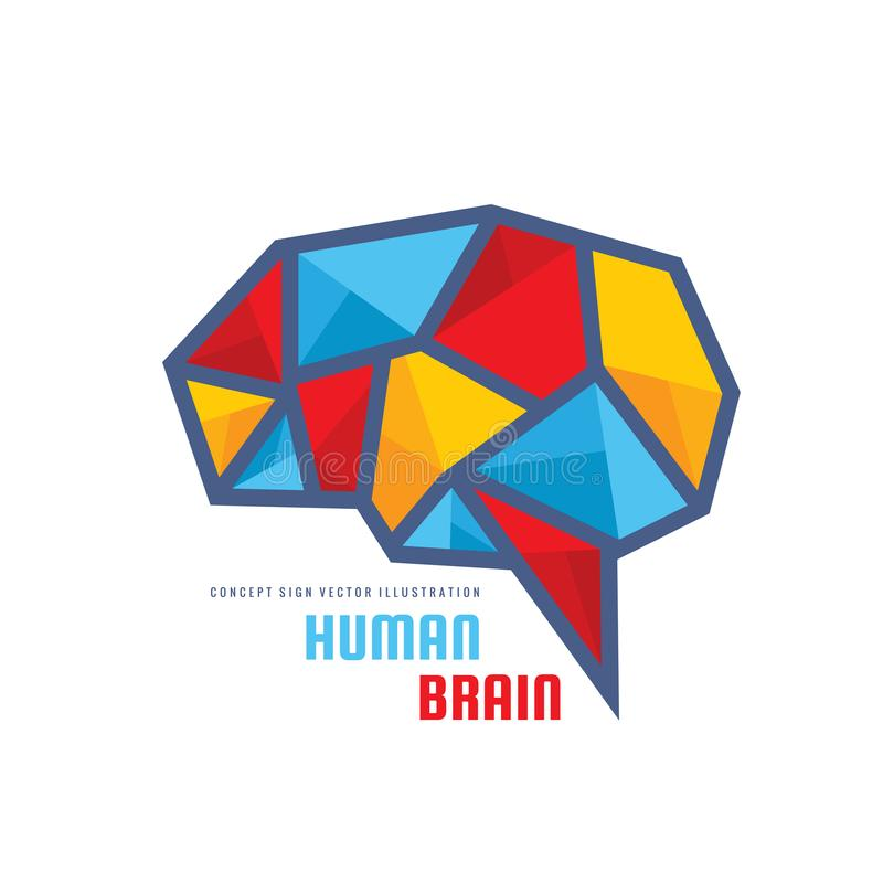 Creative idea - business vector logo template concept illustration. Abstract human brain creative sign. Polygonal geometric. Structure. Mind education symbol royalty free illustration