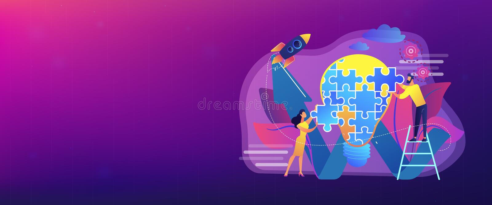 Creative idea concept banner header. Business team doing lightbulb from jigsaw puzzle and rising arrow. Creative idea and insight, notion, invention concept on royalty free illustration