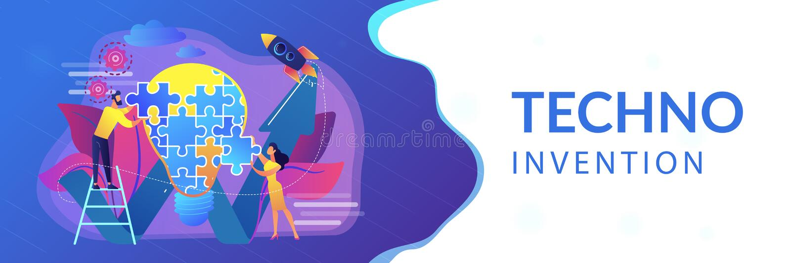 Creative idea concept banner header. Business team doing lightbulb from jigsaw puzzle and rising arrow. Creative idea and insight, notion, invention concept on vector illustration