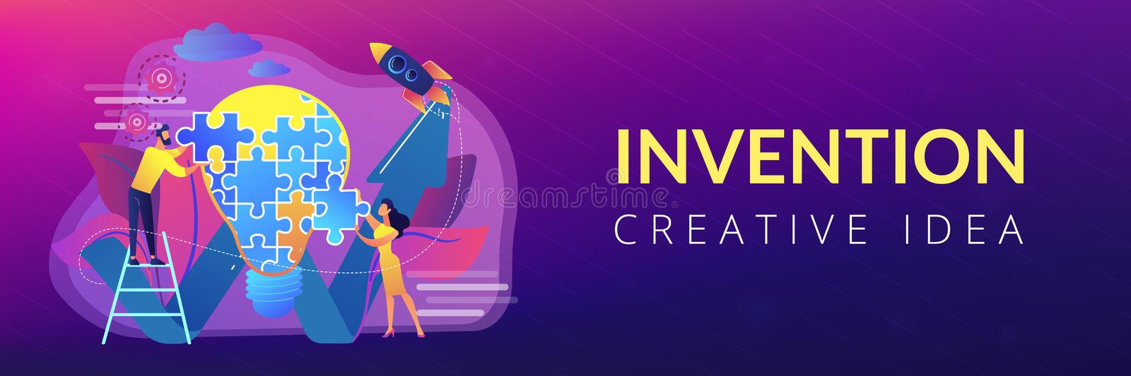 Creative idea concept banner header. Business team doing lightbulb from jigsaw puzzle and rising arrow. Creative idea and insight, notion, invention concept on stock illustration