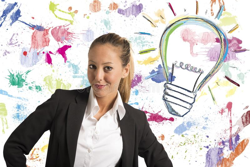 Creative idea. Concept of businesswoman with creative business idea stock images