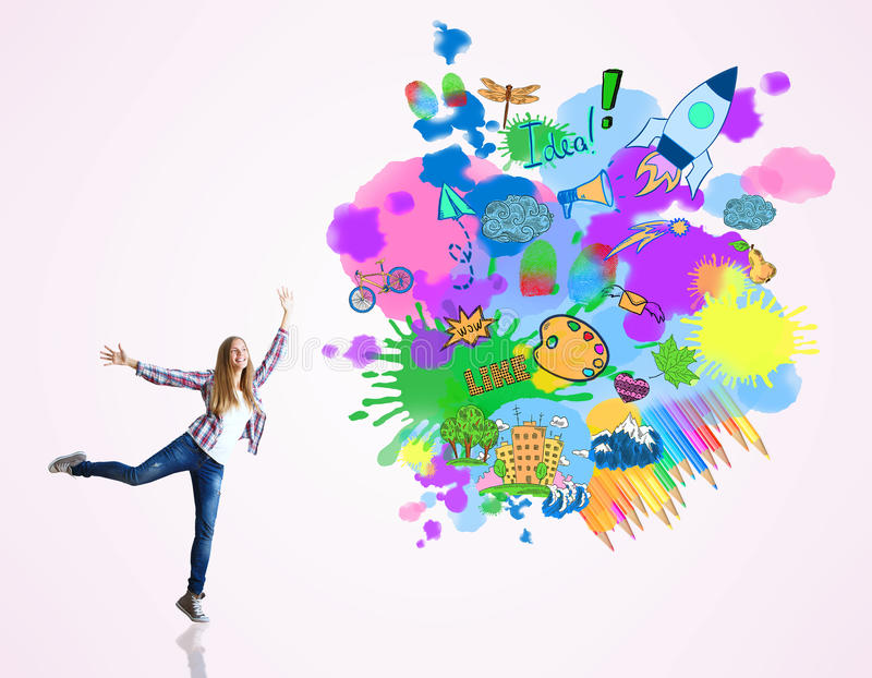 Creative idea concept. Happy jumping woman on light background with colorful sketch. Creative idea concept stock illustration