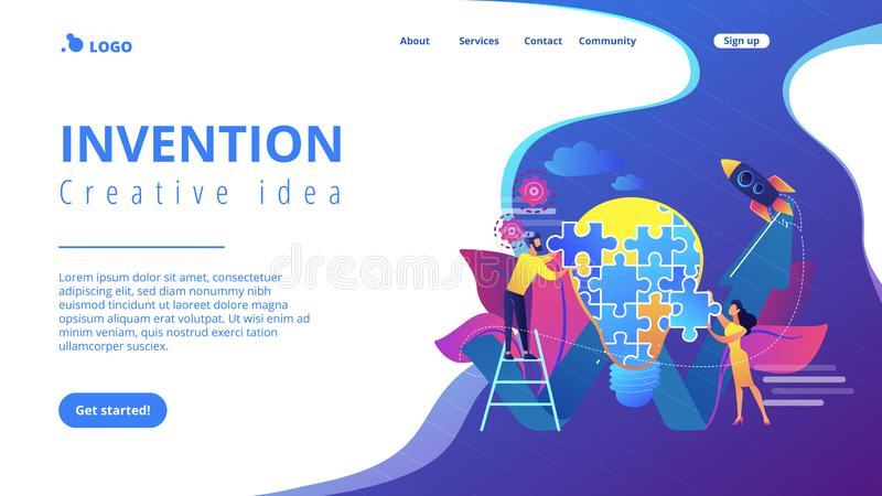 Creative idea concept landing page. Business team doing lightbulb from jigsaw puzzle and rising arrow. Creative idea and insight, notion, invention concept on royalty free illustration