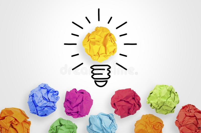 Creative Idea Concepts Light Bulb with Crumpled Paper on White Background royalty free stock photos