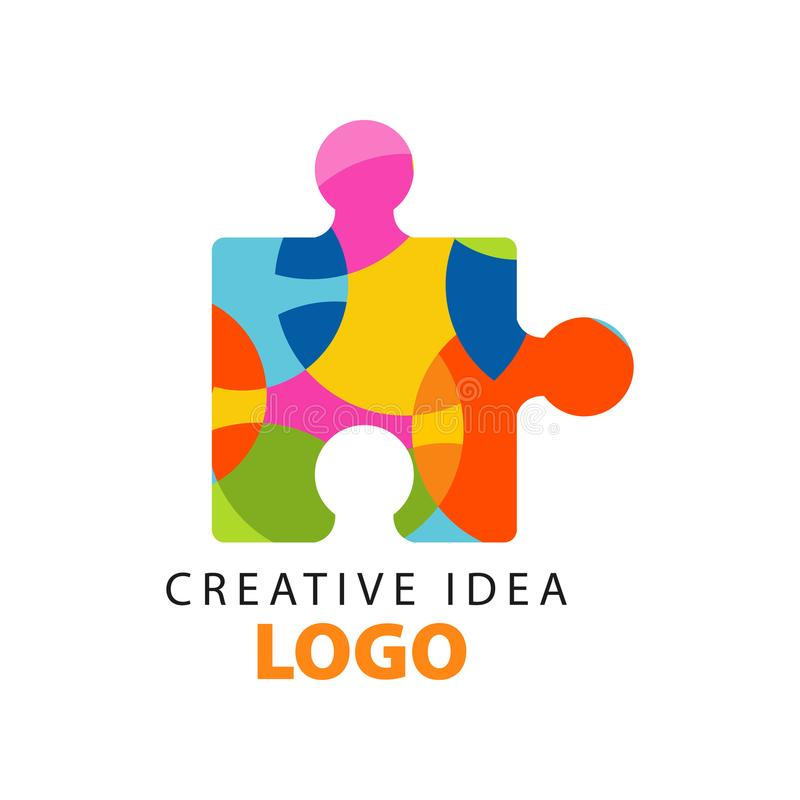 Creative idea geometric logo template with abstract royalty free illustration