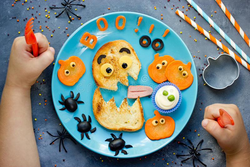 Creative idea for Halloween healthy and funny food for kids royalty free stock image