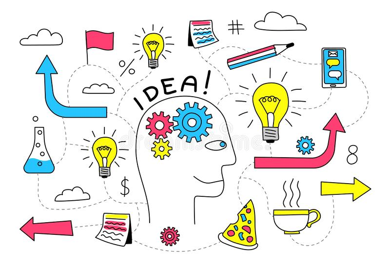 Creative Idea in the head of a person is a doodle flowchart. Creative Idea in the head of a person is abstract doodle flowchart with various icons. Vector stock illustration
