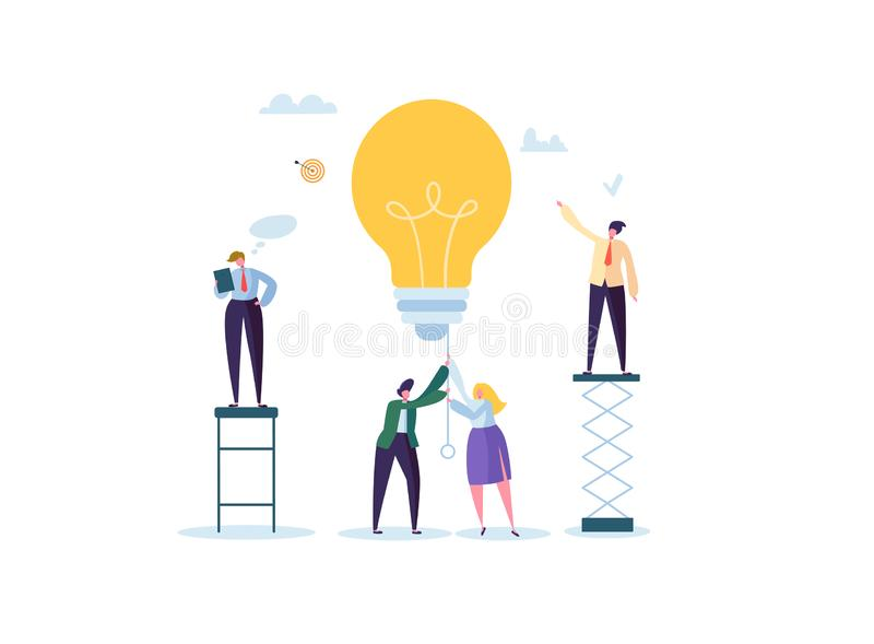 Creative Idea, Imagination, Innovation Concept with Light Bulb. Business People Characters Working Together on Project vector illustration