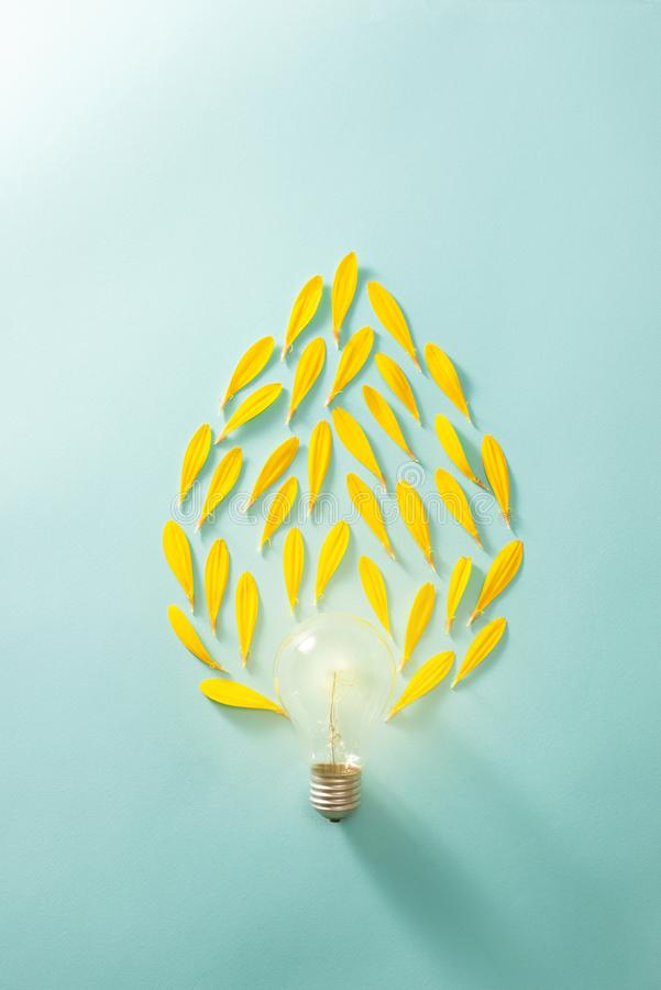 Creative idea, Inspiration concept with light bulb on blue background.  stock images