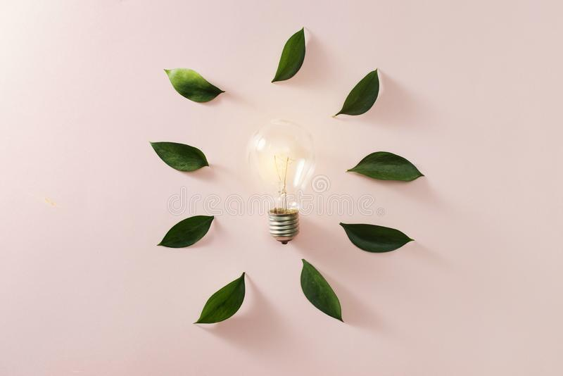 Creative idea, Inspiration concept with light bulb on blue background.  stock photos