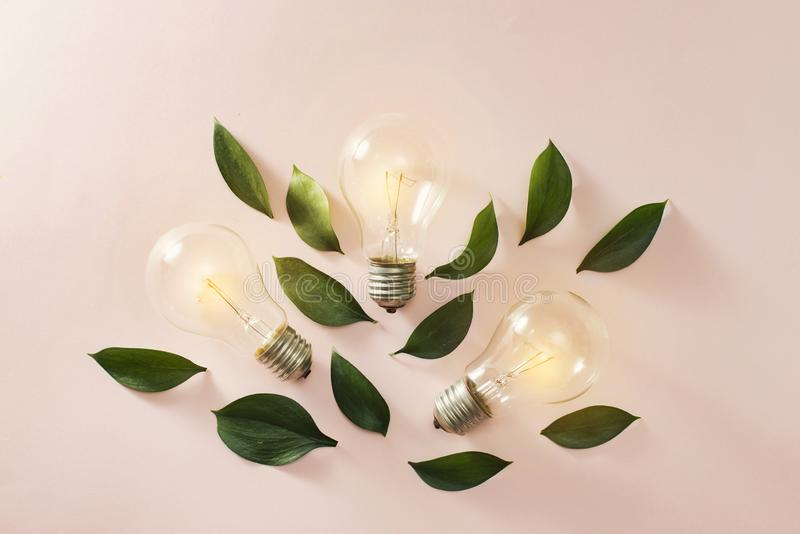 Creative idea, Inspiration concept with light bulb on blue background.  royalty free stock photo