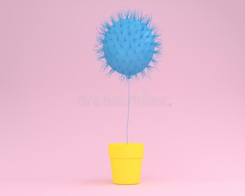 Creative idea layout cactus blue floating with flower pot yellow. On pastel pink background. minimal idea concept vector illustration