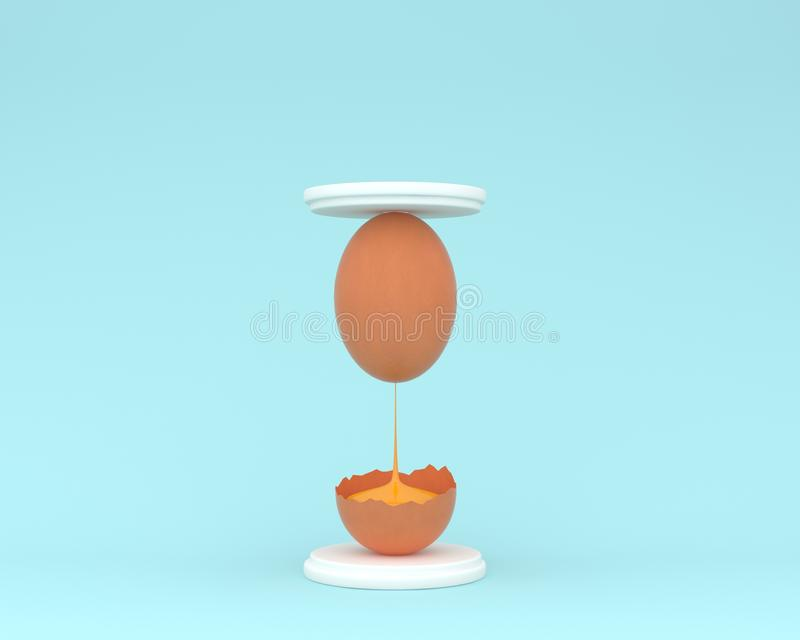 Creative idea layout egg hourglass on pastel blue background. mi. Nimal concept. food ideas creatively to produce work within an advertising marketing stock illustration