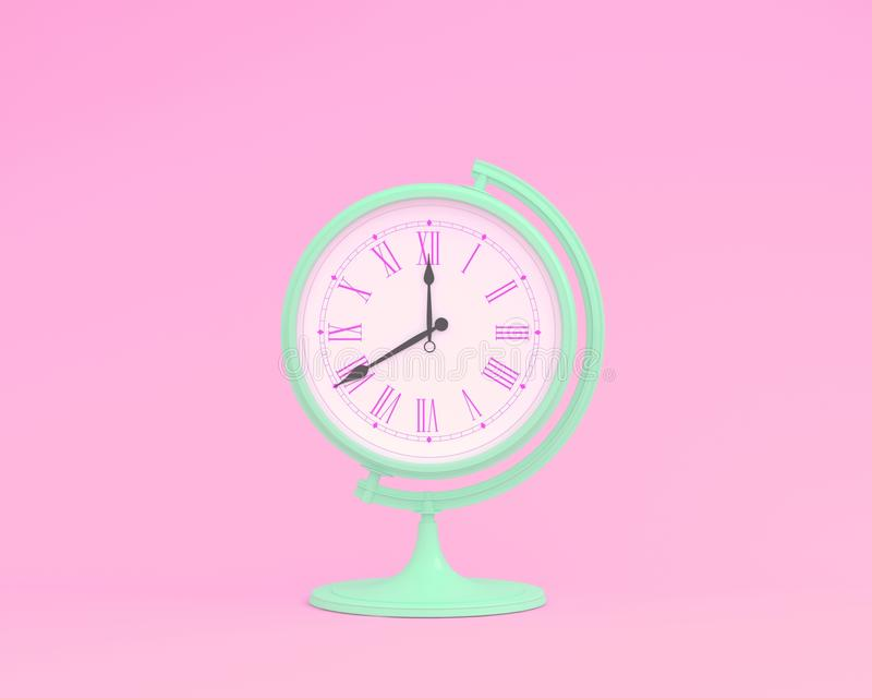 Creative idea layout globe sphere orb clock on pink pastel background. minimal business concept. Time of people, time value royalty free illustration