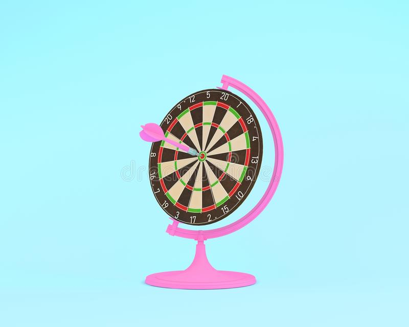 Creative idea layout globe sphere orb Darts board with pink arrows on pastel blue background. minimal idea business concept. Creatively to produce work within royalty free illustration