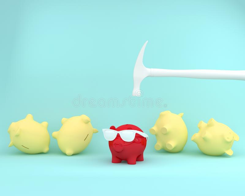 Creative idea layout of hammer is hitting on piggy banks red wit. H glasses on blue pastel background. minimal business finance concept royalty free illustration
