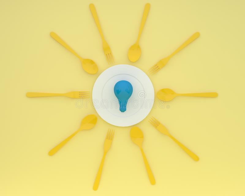 Creative idea layout made of blue light bulbs glowing on plate with spoons and forks on yellow color background. minimal business. Concept and food idea stock images