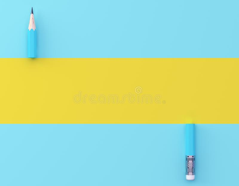 Creative idea layout made of blue pencil contrast yellow and blue pastel background. Minimal template with copy space by top view. stock photos