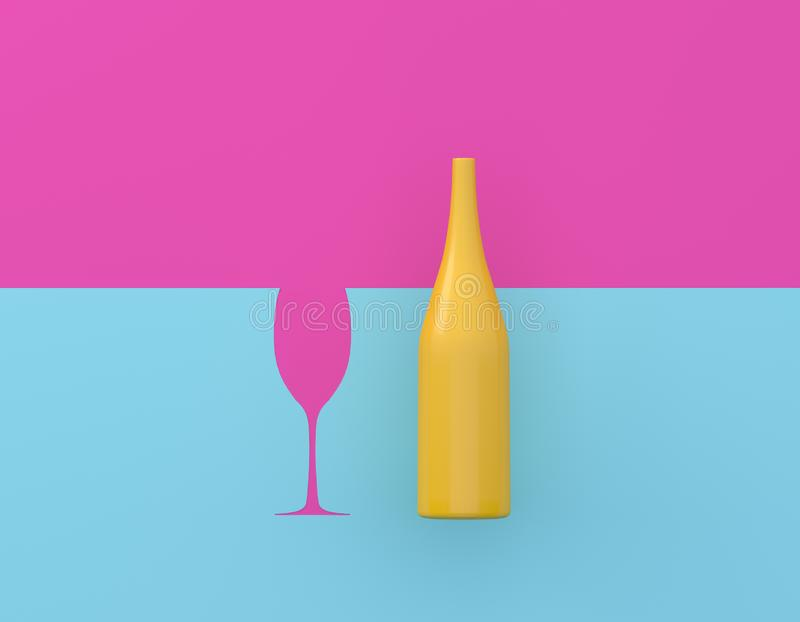 Creative idea layout made of champagne with glasses contrast on pink and blue pastel background. Party minimal concept. royalty free stock photos