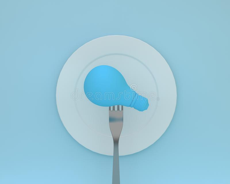 Creative idea layout made of forks with light bulbs glowing put. On the plate on blue color background. minimal healthcare concept stock photos