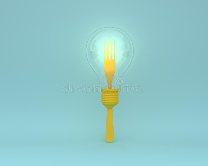 Creative idea layout made of forks with yellow light bulbs glowing on blue color background. minimal concept. royalty free stock images