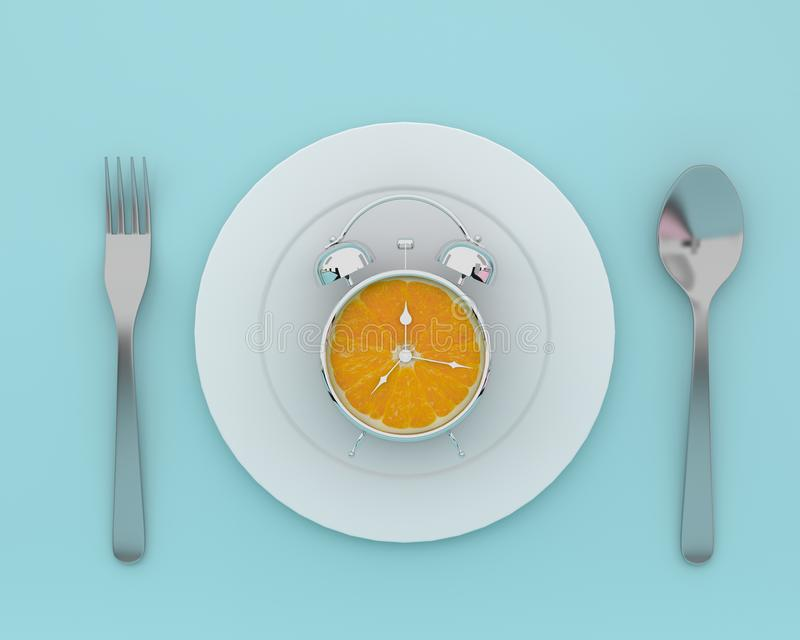 Creative idea layout made of fresh orange slice alarm clock on p. Late with spoons and forks on blue color background. minimal healthcare concept stock image