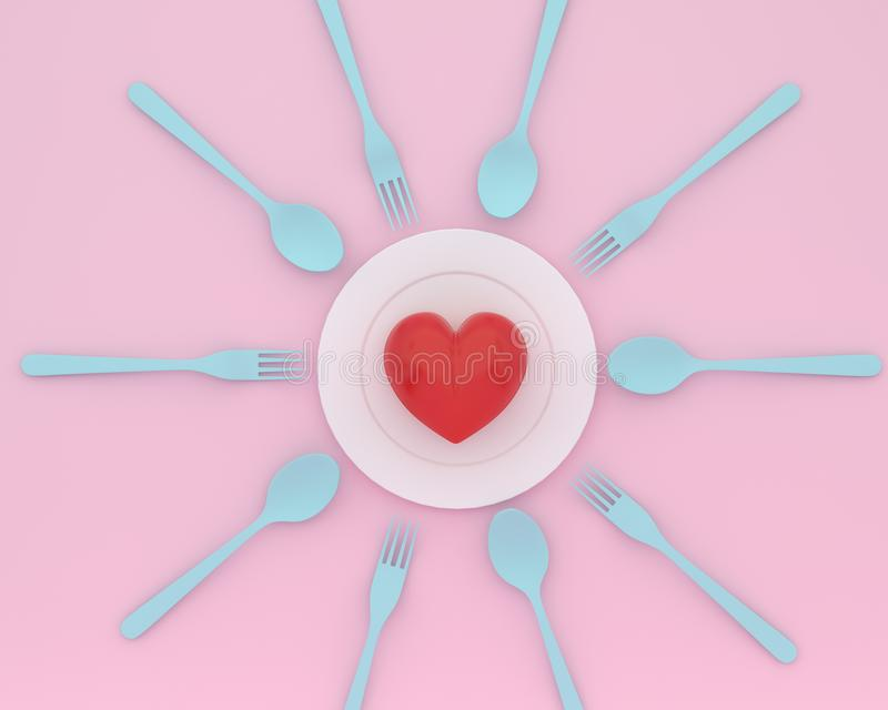 Creative idea layout made of heart on plate with blue spoons and. Forks on pink color background. minimal healthcare concept stock images