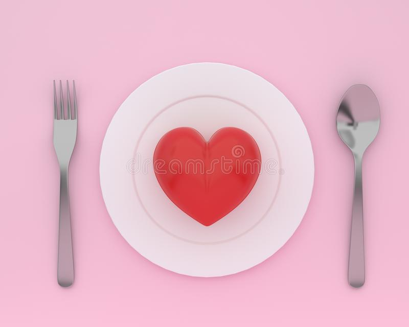 Creative idea layout made of heart on plate with spoons and fork. S on pink color background. minimal healthcare concept royalty free illustration