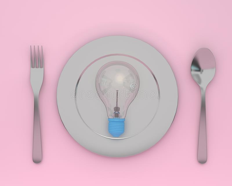 Creative idea layout made of light bulbs glowing on plate with s. Poons and forks on pink color background. minimal healthcare concept stock illustration