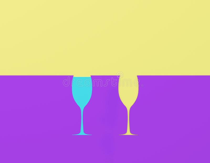 Creative idea layout made of paper with glass contrast on purple and yellow pastel background. Party minimal concept. Creative idea layout made of paper with royalty free stock photography