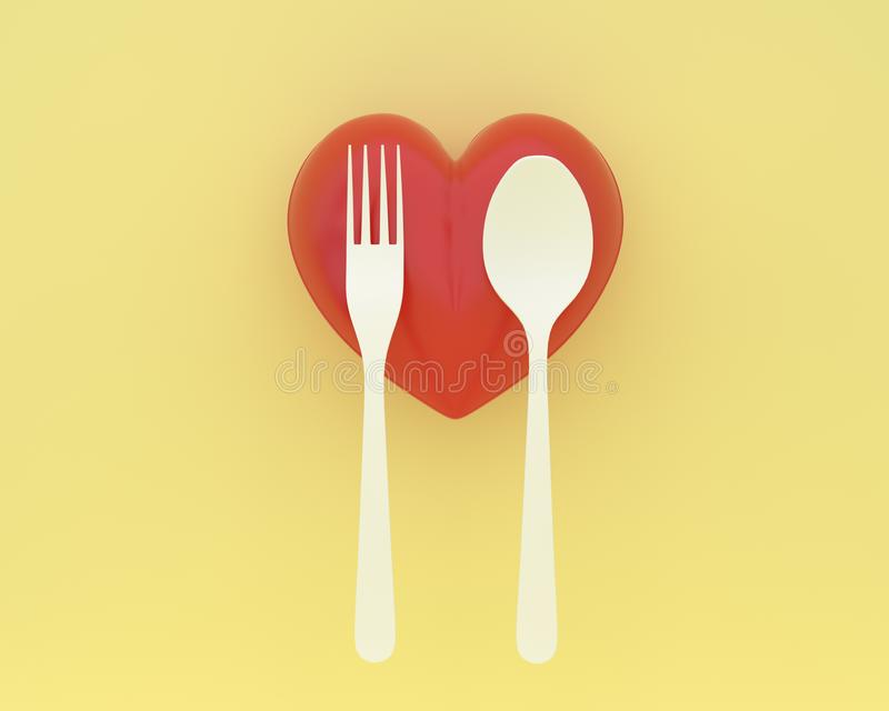 Creative idea layout made of spoons and forks with heart on yell. Ow color background. minimal healthcare concept stock photography