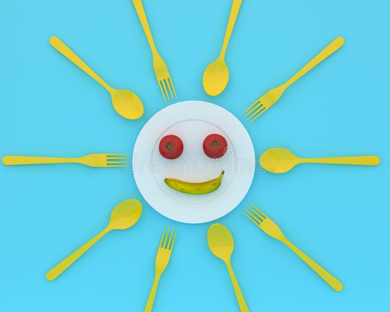 Creative idea layout made of tomatoes and banana is smile put on. The plate with spoons and forks on blue color background. minimal healthcare concept stock photography