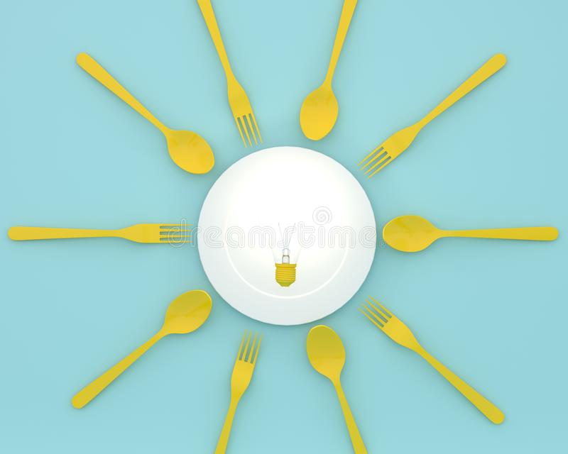 Creative idea layout made of yellow light bulbs glowing on plate. With spoons and forks on blue color background. minimal healthcare concept royalty free stock photography