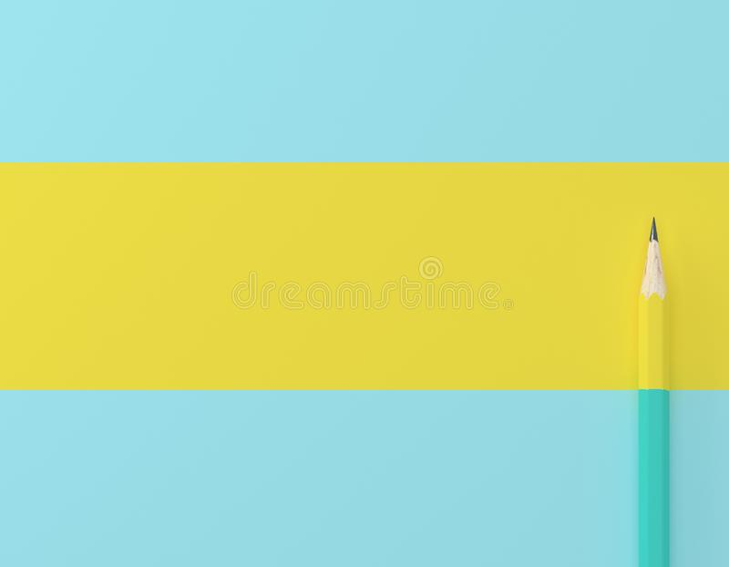 Creative idea layout made of yellow pencil contrast blue pastel background. Minimal template with copy space by top view. stock photos